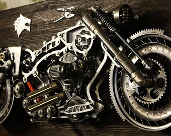 Motorcycle Sculpture - 3D Metal Art - Harley Davidson - Indian