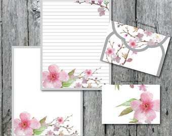 Cherry Blossom Digital Paper Pink Stationery Paper Printable Stationary Paper Writing Paper Envelope Template Note Paper