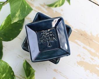 Blue Tree Ring Dish/Tiny Pottery Tray/Blue Pottery Trinket Dish/Pottery Blue Trinket Tray/Blue Pottery Tray/Mini Blue Pottery Dish