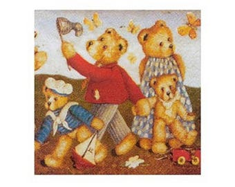 Napkin decor bear family