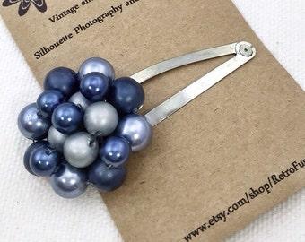 Metallic blue hair clip, 1950s vintage earring hair clip, wedding bridal hair clip bridesmaids hair clip blue gray hair clip, blue beaded