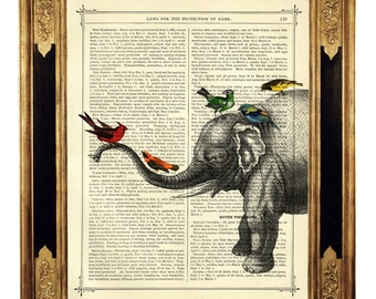 Elephant with birds Animals Natural History - Vintage Victorian Book Page Art Print Steampunk