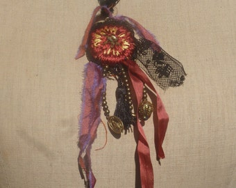 "Necklace ""punk girl"" lace, bronze beads, cabochon, silk ribbons, embroidery, BoutonRose, medal, tassel, black"