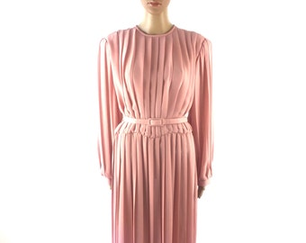 Vintage Pink Pleated long Sleeve Mid-Calf Dress, size Large