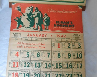 CHARMING CALENDAR 1942 WWII Sloan's Liniment Tammaro Pharmacy Long Island New York Good Used Condition Vintage, Antique