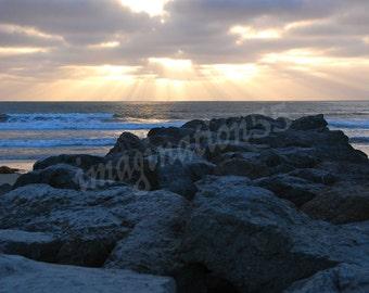 Sunset Clouds Beach Rocks Photography Digital Download