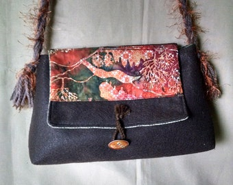 Brown felt bag, Felt bag, Batik print bag