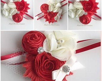 Red Corsages, Wrist Flower, Wrist Corsage, Wedding Corsage, red ivory Corsage, Ivory Corsage, Wedding Wrist Band, Wedding corsage