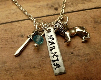 Narnia inspired necklace with lion and sword-hammered edge-Aslan-Narnia-Easter gifts
