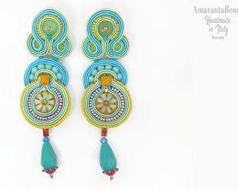 Soutache earrings, dangle earrings, summer blu green earrings, statement earrings, light earrings, soutache bijoux, soutache made in Tuscany