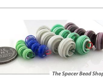 MOUNTAIN SHADOW Swirls Green Gray HALF Bead Sets Lampwork Spacers Glass Handmade - The Spacer Bead Shop