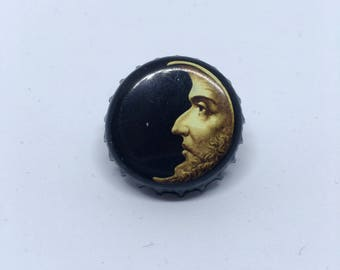 Moon Man Goth Bottle Cap Pin Vintage Style Recycled Retro