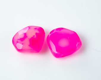 Hot Pink Chalcedony Faceted Heart Briolette Beads