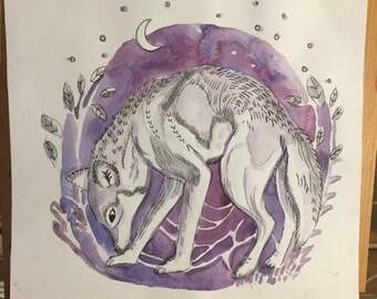 Loup Violet original watercolor