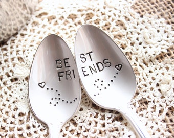 Best Friends Spoon Set - Hand Stamped - Coffee Tea Ice Cream - Christmas Gift - Gifts for Her - Vintage Silverplate