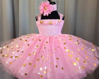 Pink with gold & silver polka dot princess dress, little girl tutu, infant tutu, toddler tutu, girl birthday dress, baby shower gift