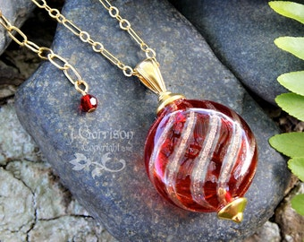 Cinnamon Swirl Necklace - Deep red hand blown Venetian glass bead on  14k gold filled chain with removable extender - free shipping USA