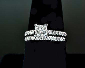Diamond Engagement (2) Rings Set PT950 1.46 ctw Certificate size 6.75