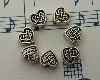 Celtic Heart Beads - 20 pcs. - Tiny Celtic Hearts - Antique Silver Spacers- Celtic Heart Spacers - Two Sided Charms - Charms - Silver Charms