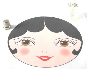 "Quilting supplies, Doll Face applique, Matryoshka Doll Face with Black Hair, SEW IN Anya doll face - 15cm (5 7/8"") diameter"