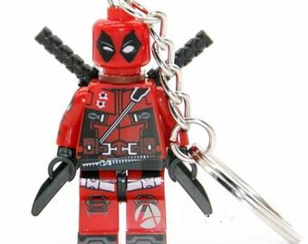 Deadpool Minifigure Keyring / Bag Charm / Keychain. Marvel, DC, Fits Lego