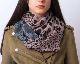 Infinity scarf, animal print scarf, cheetah print scarf, snood, loop scarf, pink scarf, women's tube scarf, ladies scarf, modern scarf