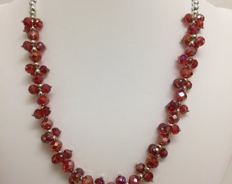 Sparkly Red Necklace and Earrings