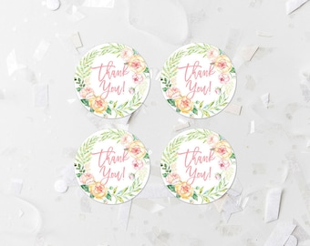 Pink Floral Thank You Round Tags Printable Baby Shower Thank You Labels Bridal Shower Favor Labels Favor Stickers Shower Decoration  262