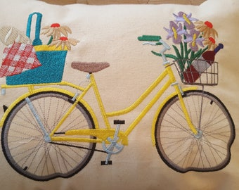 Throw Pillow  Bike Bicycle Machine Embroidery  -  Picnic in the Park