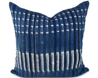 Vintage African Indigo Pillow Cover, Blue & White African Mud Cloth, Authentic Mudcloth Pillow Cover | 20x20 | 'Natalie'
