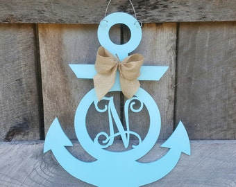Personalized Anchor Door Hanger - Initial Anchor Wreath - Anchor Wall Hanging - Summer Wreath - Beach -Nautical - Lake - Door Hanger