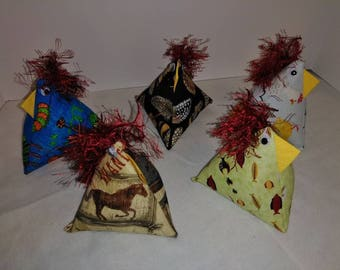 Crazy chickens, pin cushions, door stops, toy, home decor, roosters, chickens