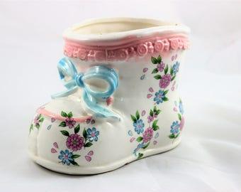 Vintage Inarco Japan Baby Shoe Bootie Ceramic Planter.