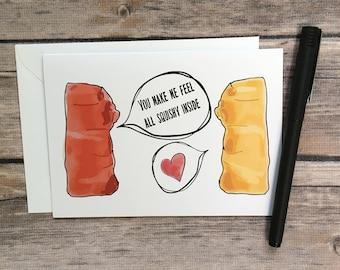 gummy bear card - i love you card - anniversary card - valentine's day card - romance card - candy card - pun card - boyfriend card