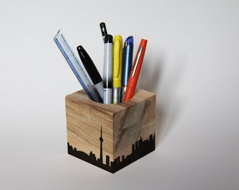 Pencil downtown Toronto in recycled pine - Toronto skyline reclaimed wood pencil holders