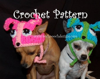 Instant Download CROCHET PATTERN: Chihuahua Dog Hats small Dogs 2- 20 lbs
