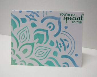 Handmade greeting card - You're so special to me - Flower - Spring card - Just because card - Turquoise - Gift for her - Gift for him