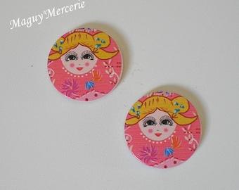Set of 2 large shuffleboard beads acrylic pink & yellow Russian doll head