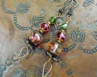 Crystal and Czech Glass Multi Colored Brass Earrings