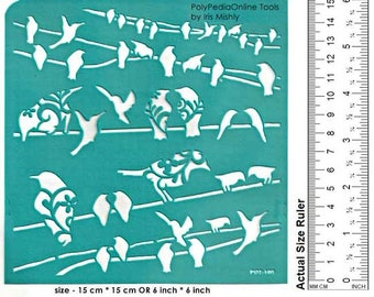Stencil Stencils Pattern Template, Reusable, Adhesive, Flexible, for polymer clay, fabric, wood, glass, cards | BIRD ON WIRE | 6 inch 15 cm