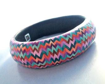 ZigZag Bangle, Fiesta Bangle, Polymer Clay Bangle, Millefiori Bracelet, Handmade Bangle, Custom Jewelry, Statement Bracelet, Wearable Art
