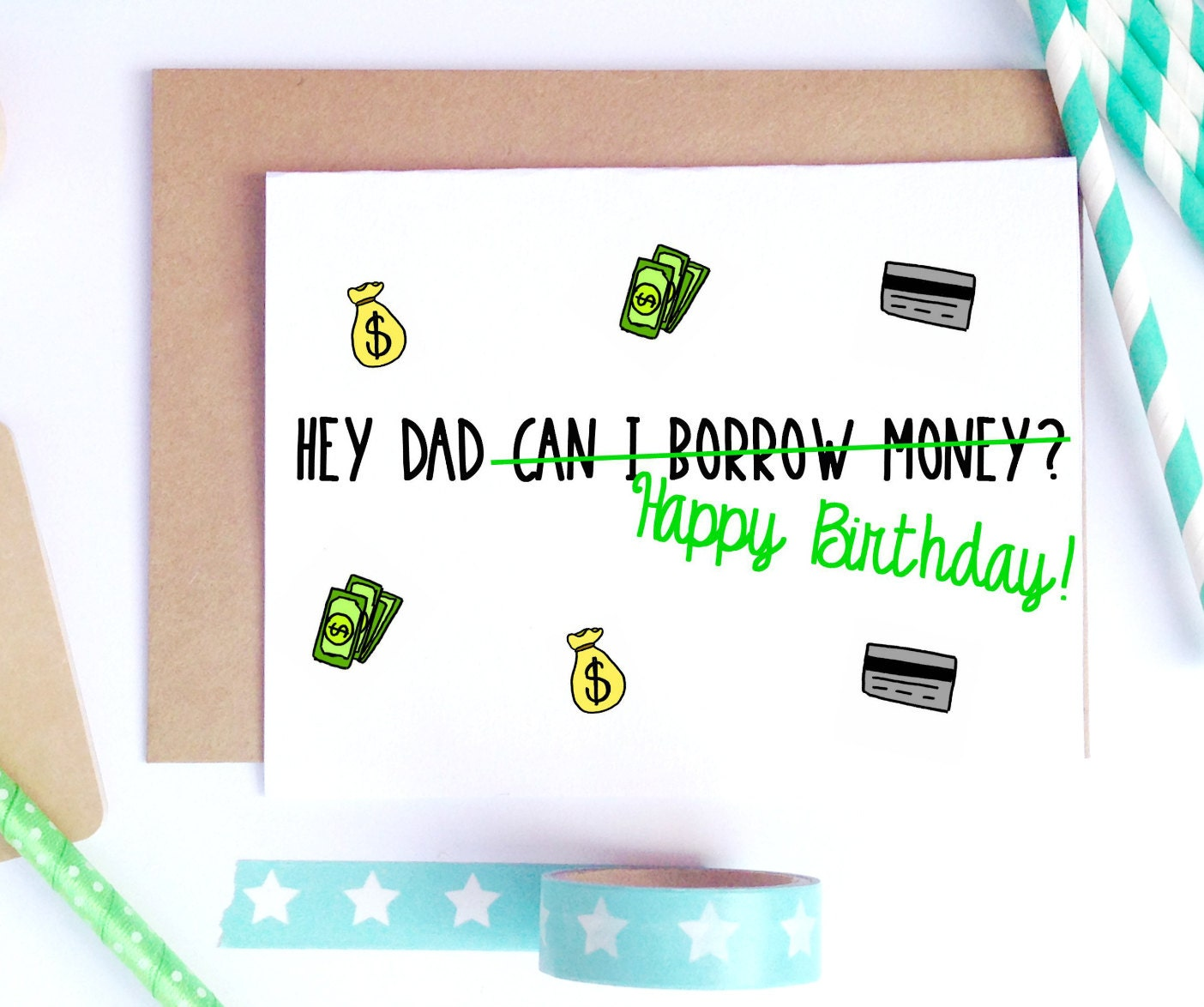Dad Birthday Card Dad Bday Card Funny Birthday Card Card