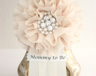 Tan Baby Shower Corsage Mommy to Be Grandma to Be Pin Clip Badge Brooch Bride to Be Bridal Shower Tan Ivory