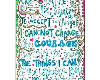 Serenity Prayer Coloring page download, Adult coloring page, Printable coloring page, recovery coloring, colouring, Prayer.