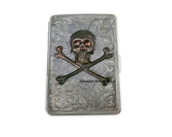 Metal Cigarette Case Oxidized Skull and Crossbones in Hand Painted Metallic Silver Swirl Design Metal Wallet Neo Victorian Inspired