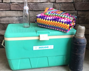 Vintage Igloo Cooler Boho Wedding Reception Farmhouse Wedding Housewarming Camping Rustic Unique Gifts for Him Boho DecorMint Green