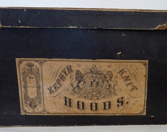 Dolan Woolen Mills advertising hat box hoods 19th Ct store Philadelphia black engraved label clothing collectivle vintage historical