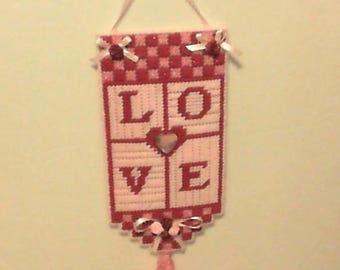 Love, wall hanging, plastic canvas
