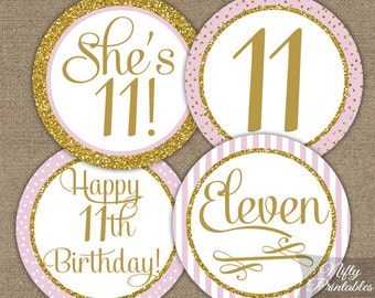 11th Birthday Cupcake Toppers - Eleventh Birthday Party Pink & Gold Printable - DIY Girls 11th Bday Favor Tags - Eleven Year Old - PGL