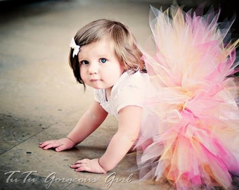 Pink Yellow & White Tutu...First Birthday Tutu, Easter Portrait Tutu...Baby Toddler Girls Adult Tutus . . . SUGAR AND KISSES